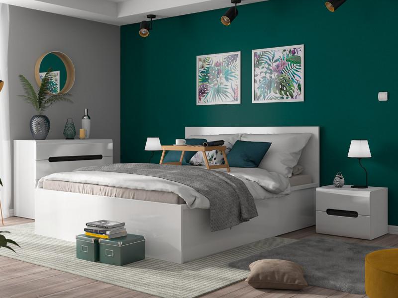Modern Sturdy Ottoman King Size Bed Frame Gas Lift Up Storage White Gloss - Tetrix (S442-LOZ/160/B-BIP-KPL01)