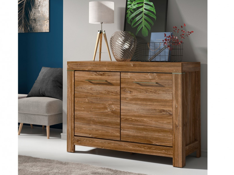 Small Oak effect Cabinet Square Modern Sideboard - Gent (SFK2D/9/12)