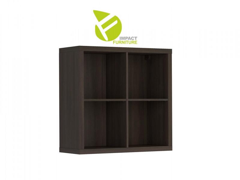 Modern 4 Cube Storage Unit Wall Mounted Shelf Cabinet Display for Hallway Bedroom Wenge Dark Wood Effect Finish - Nepo (S435-SFW/8/8-WE-KPL01)