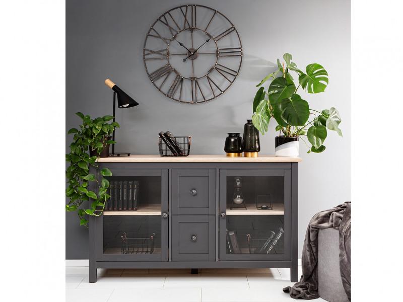 Modern Glass Display Sideboard Cabinet Unit Lowboard with Drawers Country Grey / Oak Effect - Bocage  (S503-KOM2W2S/9/16-GF/DSAJ-KPL01)