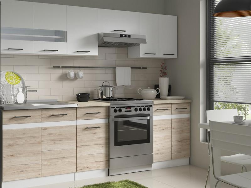Kitchen Set 7 Units Cabinets White Gloss / Oak San Remo Light - Junona (Junona)