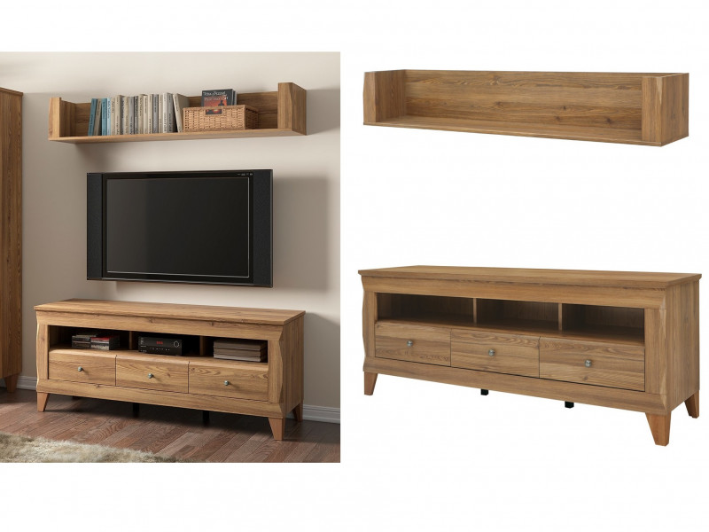 Traditional Light Oak Wide TV Cabinet Media Bench with Drawers & Wall Storage Shelf Panel Unit 156cm Set - Bergen (S359-RTV3S-POL150-SET-MSZ-KPL01)