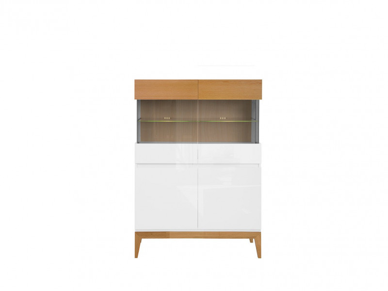 Scandinavian Short Display Glass Cabinet LED Storage Unit Wood White Gloss/Oak - Kioto (S425-REG2D2W-BI/BIP/DNA-KPL01)
