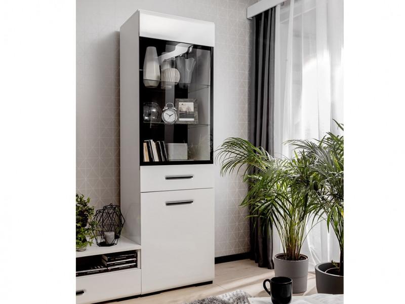 Modern White Gloss Tall Slim Glass Black Rim Display Cabinet Buffet Unit with LED Lights - Assen (S513-REG1W1D/20/6-BI/BIP-KPL01+LEDS)
