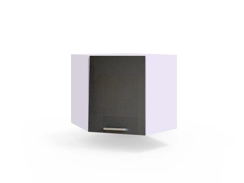 Free Standing White/Grey Gloss Kitchen Corner Cabinet Wall Unit 60cm - Modern Luxe (Luxe WR/58 PL)