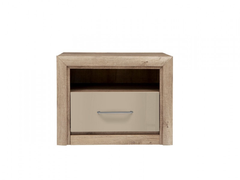 Bedside Cabinet Side Table with Drawer in Beige Gloss and Oak finish - Koen 2 (KOM1S)