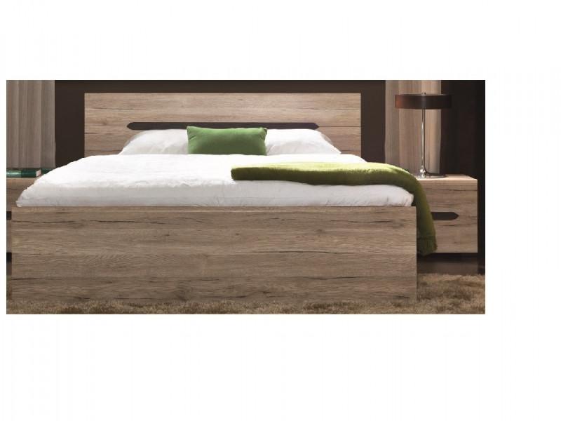 Modern Low European 160cm King Size Bed Frame with Solid Wood Slats in Light Oak Effect Finish - Elpasso (S314-LOZ/160-DSAJ/DWB-KPL01+WKLAD/160)