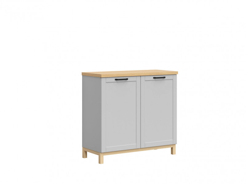 Scandinavian Sideboard Small Cabinet Sideboard in Grey & Oak - Haga (KOM2D)