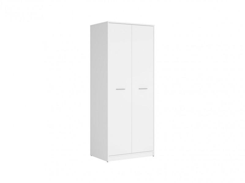 Modern Two Door Double Wardrobe 80cm Shelf Hanging Rail in White Matt Effect Finish - Nepo (S435-SZF2D-BI-KPL01)