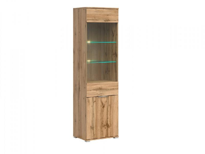 Modern Oak Effect Tall Glass Fronted 1 Door Display Cabinet Unit with LED Lights - Zele (S383-REG1W1D-DWO-KPL01+LED)