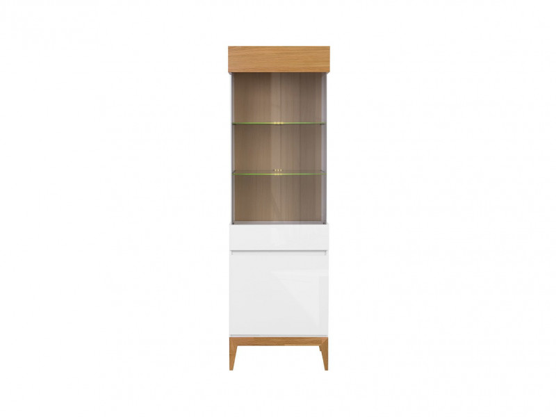 Scandinavian Tall Display Glass Cabinet LED Storage Unit Wood White Gloss/Oak - Kioto (S425-REG1D1W-BI / BIP / DNA)