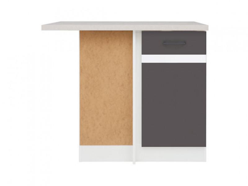 Modern Free Standing Corner Kitchen Cabinet 1000 Base Unit 100cm Left Grey/White Gloss - Junona (K24-DNW/100/82_L-BI/SZW/BNG-KPL01)