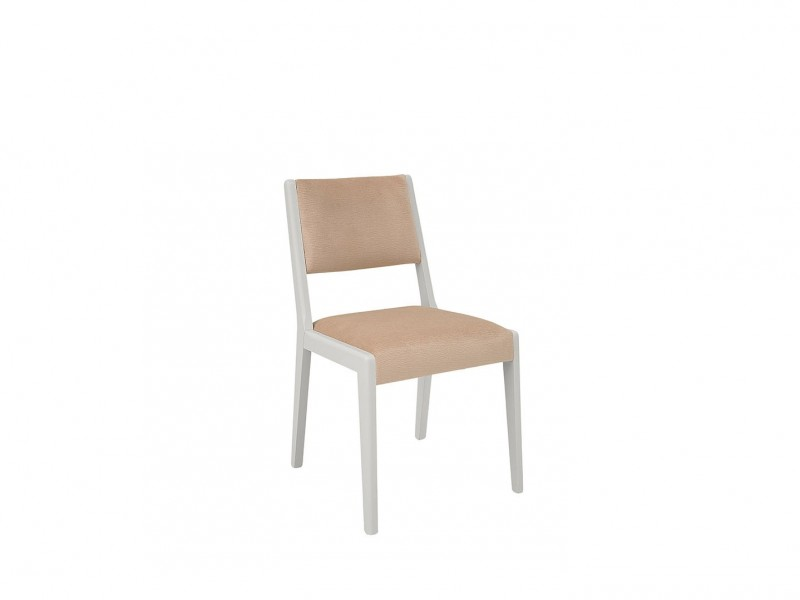 Byron - White Solid Wood Chair with Beige Seat (ALHER)