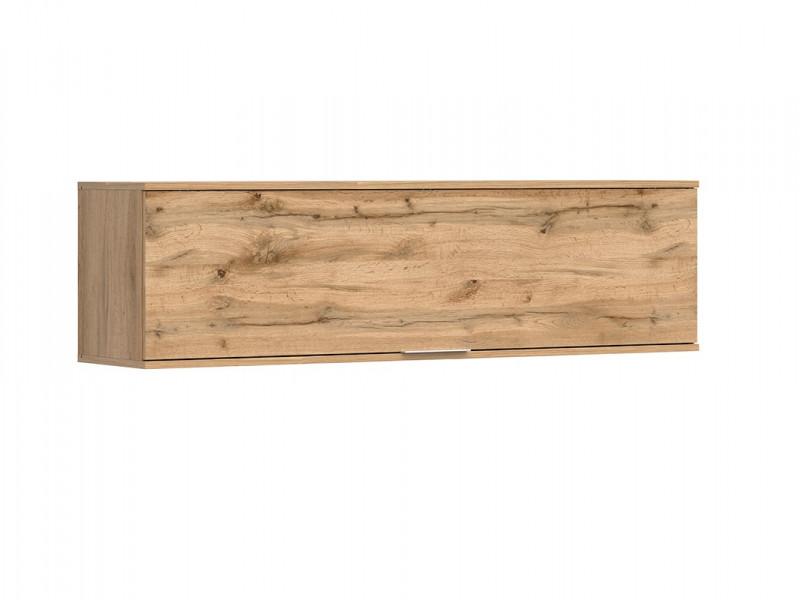 Modern Wall Mounted Unit Living Room Cabinet Storage 1 Door Cupboard Oak Effect - Zele (S383-SFW1K-DWO-KPL01)