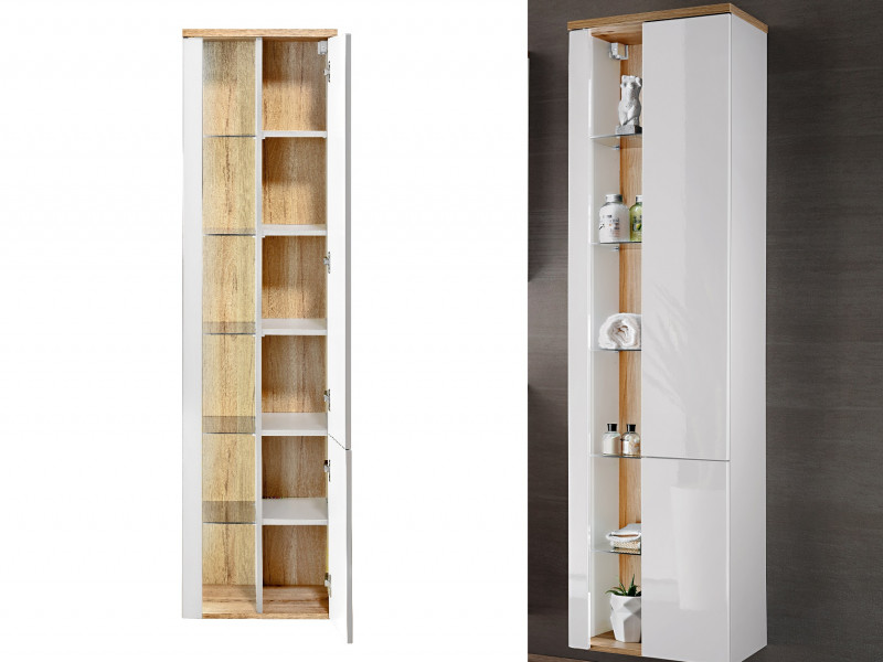 Modern White Gloss Wall Hung Bathroom Tall Cabinet Storage Unit with LED Light Glass Shelves - Bahama (BAHAMA_800 _WHITE)