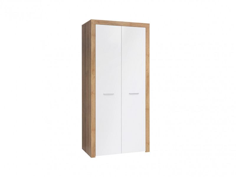 Modern 2-Door Double Wardrobe Shelf Rail 90 cm Storage Unit Oak/White Gloss - Balder (S382-SZF2D-DRI/BIP-KPL01)