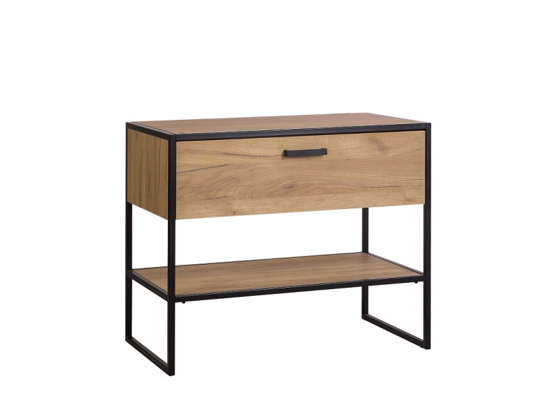 Industrial Loft Vanity Bathroom Cabinet Drawer 90cm Unit for Counter Top Sink Black Metal Frame Oak - Brooklyn (BROOKLYN_827)