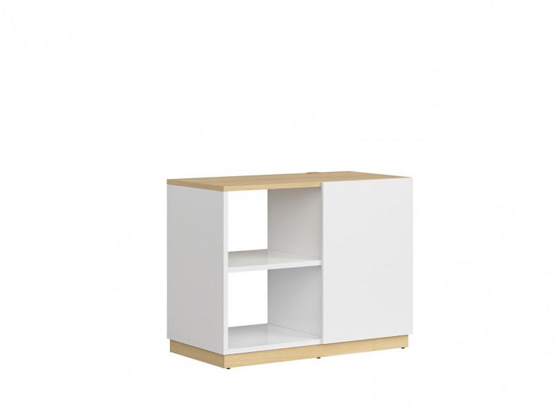 Modern Lowboard Open Bookcase Storage Shelving Unit White Gloss/Oak Finish – Denton (S416-REG1D/100/75-DP/BIP-KPL01)