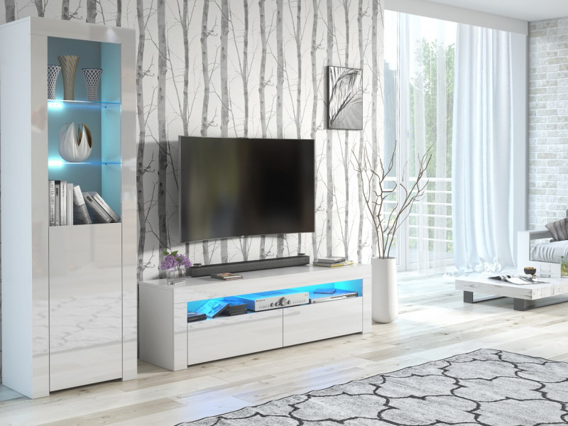 Modern White High Gloss Furniture Set with Blue LEDs: Tall Display Bookcase & Entertainment Unit / TV Cabinet - Lily (HOF-RTV+SL+BLUE-LEDS)