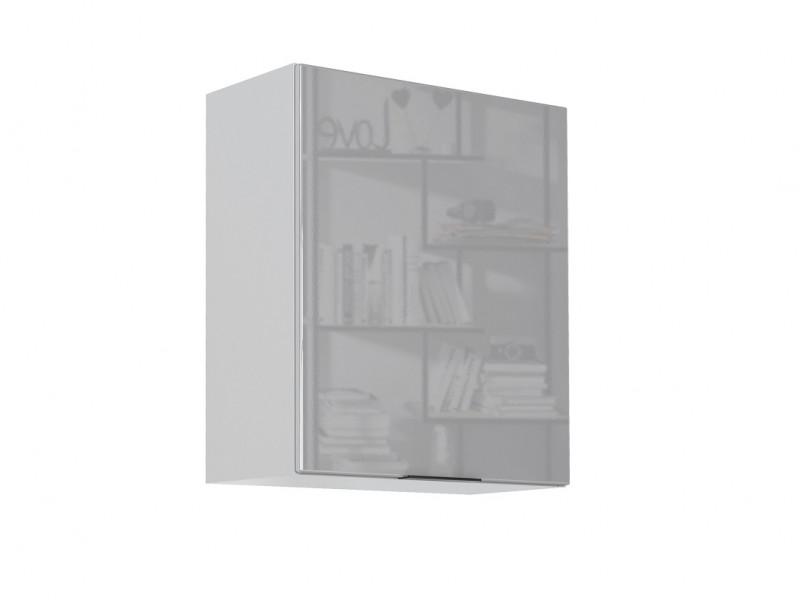 Light Dove Grey Gloss Kitchen Wall Cabinet 60cm Cupboard 1 Door Wall Mounted 600 Unit - Luna (STO-LUNA-W60-P/L-SZ/SZP-KP01)