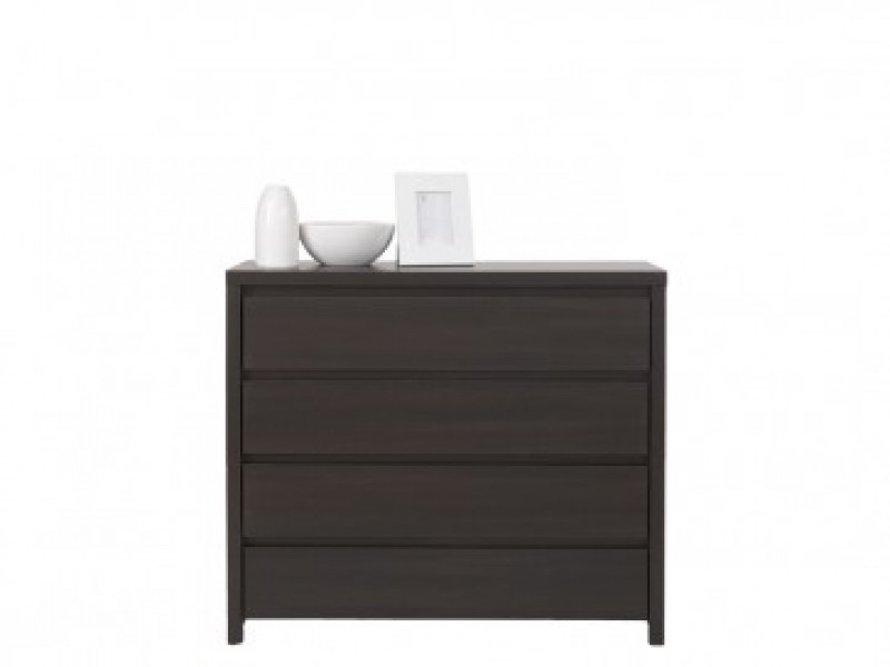 Modern Chest of Drawers Functional 4 Drawer Storage Unit Wenge Dark Brown - Kaspian (S128-KOM4S-WE/WE-KPL01)