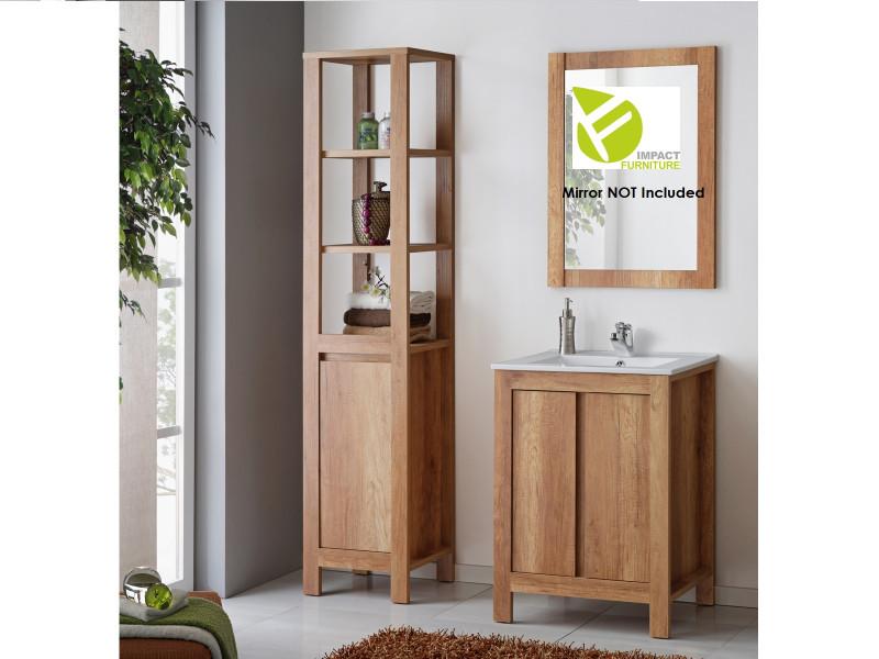 Classic 600 Vanity Bathroom 60cm Sink Cabinet Set with Tallboy Freestanding Unit - Classic Oak (CLASSIC_820+CFP-9060_DP+800_SET_OAK)