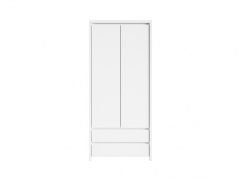 White Matt Two Door Wardrobe - Kaspian W (S128-SZF2D2S-BI/BIM-KPL01)