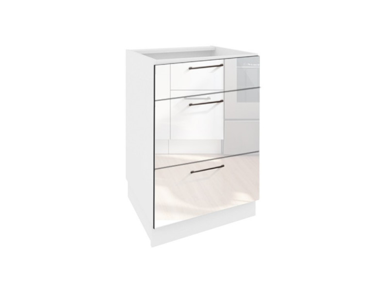 Free Standing White High Gloss Kitchen Base Drawer Cabinet Cupboard Unit 40cm - Roxi (STO-ROXI-D40-S/3-BI/BIP-KP01)