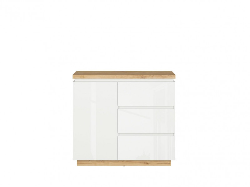 Modern Sideboard Cabinet Storage Unit Chest of 3 Drawers White Gloss / Oak finish - Erla (S426-KOM1D3S-BI / DMV / BIP)