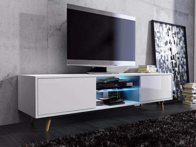 Scandinavian Retro TV Unit Cabinet White Gloss Oak with LED lights - Viva ( Sweden 1 -RTV2D/140LED)