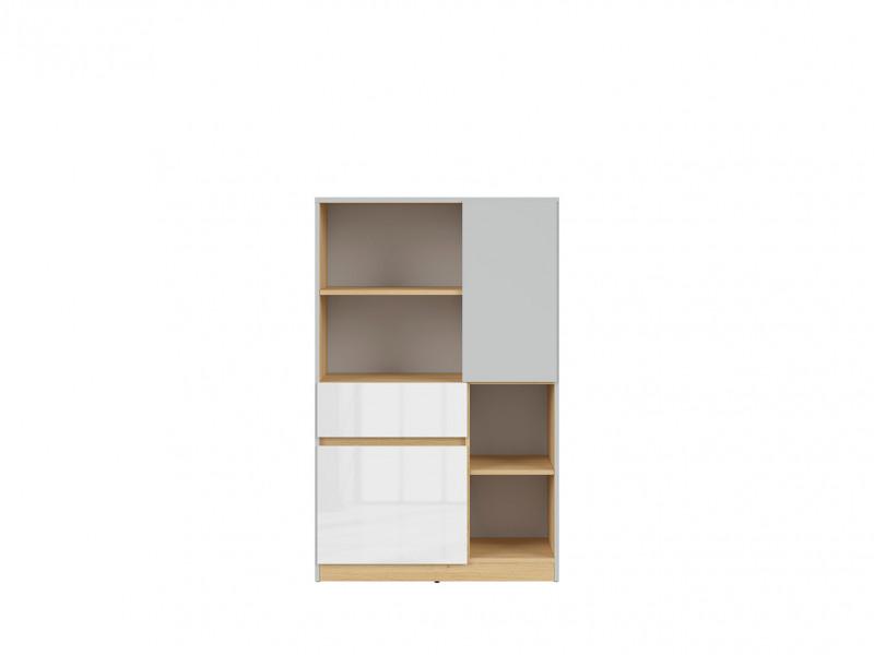 Modern Shelving Storage Cabinet Bookcase with Drawer Kids Bedroom Soft Closing White Gloss/Grey/Oak - Nandu (S441-KOM2D1S-JSZ/DP/BIP-KPL01)