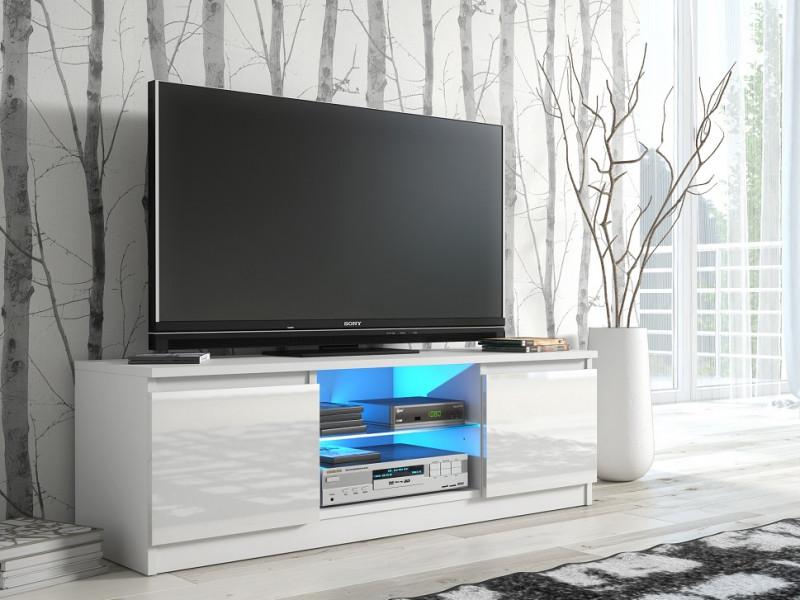 TV Cabinet Unit with LED Glass Shelf White High Gloss - Top E Gloss (RTV120WhiteGlossLED)