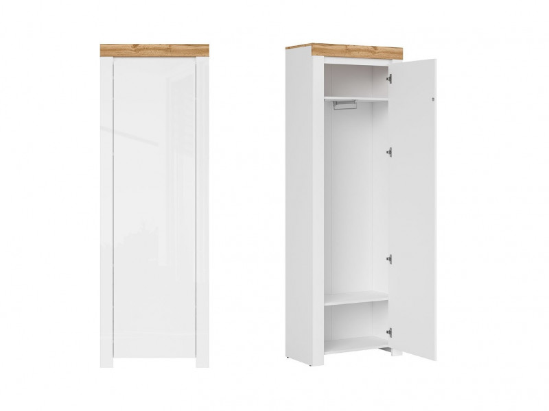 Scandinavian Tall Cabinet Single Wardrobe Storage Hallway White Gloss/Oak - Holten (S440-REG1D/200)