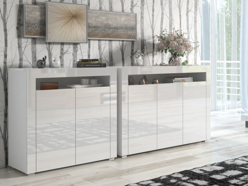 White High Gloss Sideboards Set of 2 Modern Cabinets Display Units with Doors - Lily (STO-LILY3D-BI/BIP-STO-LILY2D-BI/BIP)