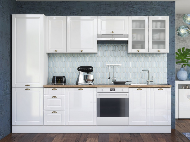 White High Gloss Kitchen 8 Cabinets Larder Unit Set Shaker Cupboards Country Modern Style - Antila (HOF-ANTILA_SET-8UNITS_3.0-BI-BIP)