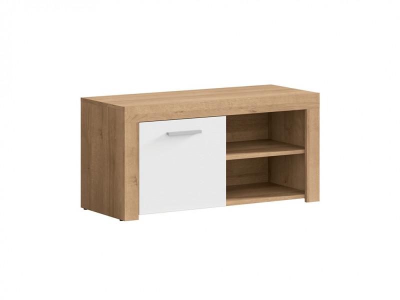 Modern Shoe Cabinet Small Lowboard 90 cm 1 Door Storage Unit Oak Effect and White Gloss - Balder (S382-SFK1D-DRI/BIP-KPL01)