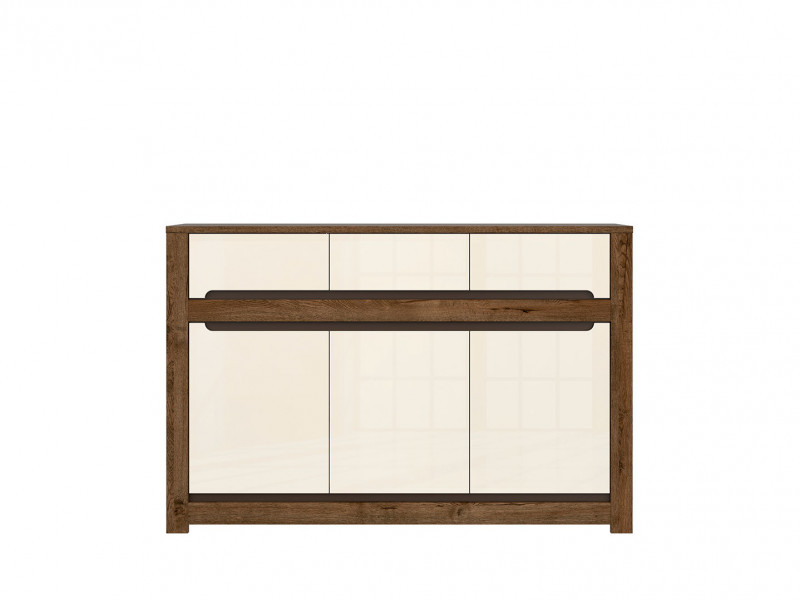 Large Sideboard Display Cabinet 3 Doors 3 Drawers in Cream Gloss and Dark Oak Finish - Ruso (S407-KOM3D3S-DARL)