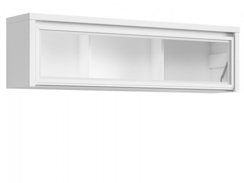 White Wall Mounted Unit Glass Fronted Cabinet Shelf - Kaspian W (S128-SFW1W/140-BI/BIM-KPL01)