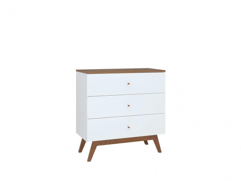 Scandi Sideboard Compact Chest of  3-Drawers Wooden Legs White/Larch - Heda (S385-KOM3S-BI/MSZ/BIP-KPL01)