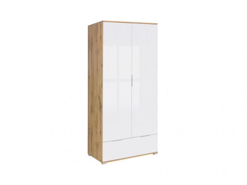 Modern Free Standing 2-Door Double White Gloss/Oak Wardrobe Drawer 90cm - Zele (S383-SZF2D1S-DWO/BIP-KPL01)