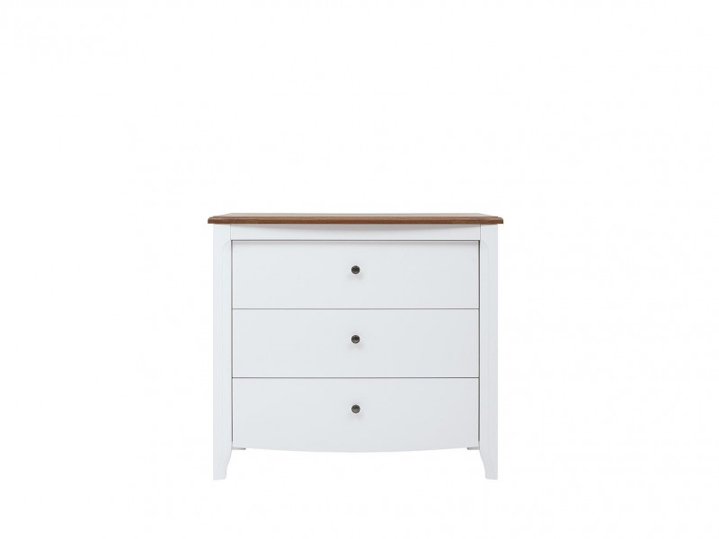 Classic Wood Chest of Drawers Living Room Furniture Storage White Gloss/Acacia - Kalio (S423-KOM3S-BIP/ACZ/BIP)