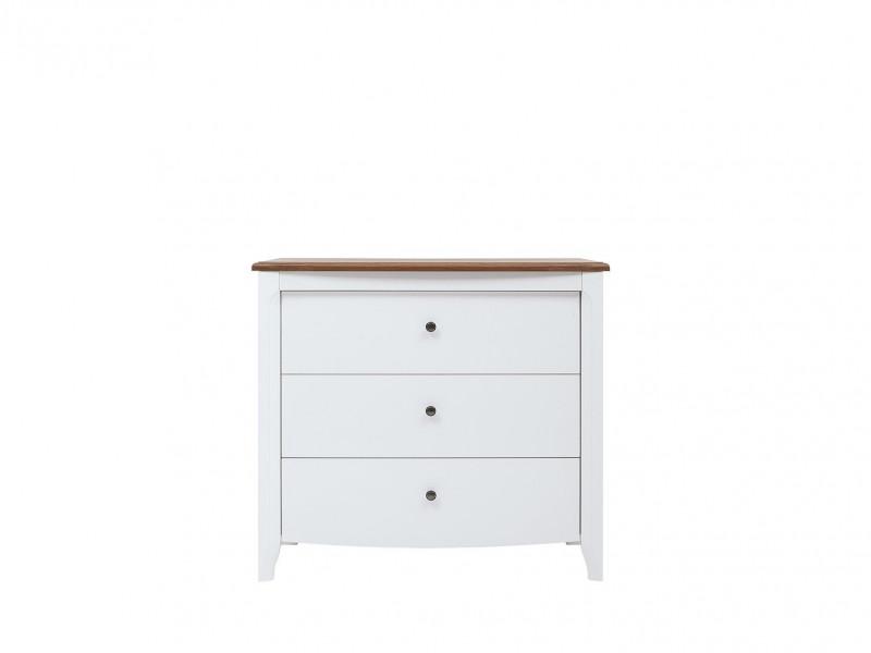 Classic Wood Chest of Drawers Living Room Furniture Storage White Gloss/Acacia - Kalio (S423-KOM3S-BIP/ACZ/BIP-KPL01)
