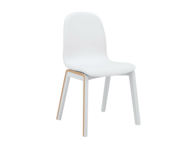 Modern White Molded Dining Chair Padded Eco Leather - Bari (BARI-TK1089)
