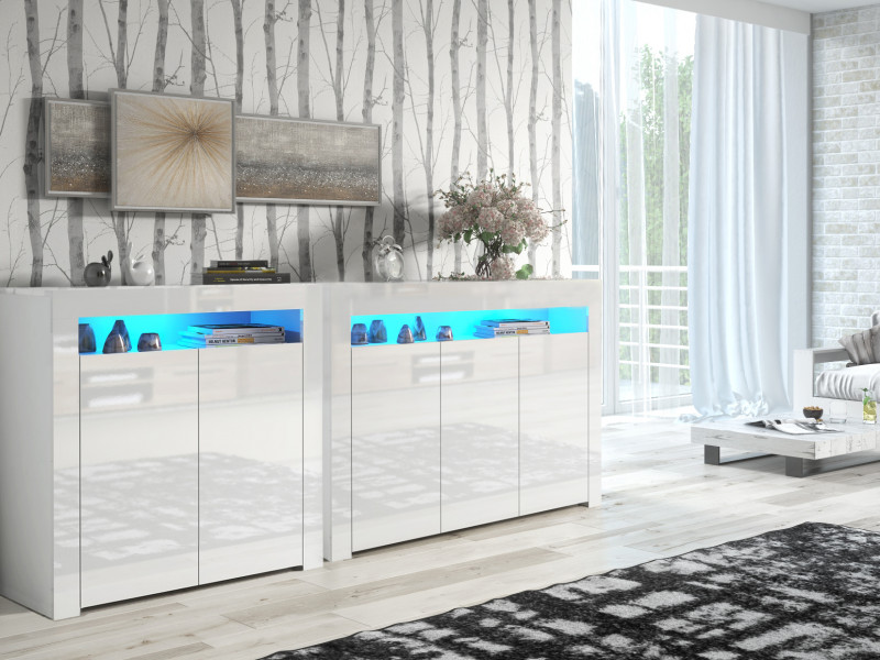 White High Gloss Sideboards with Blue LED Lights Set of 2 Modern Cabinets Display Units - Lily (HOF-LILY3D-LILY2D-BI/BIP-LED-BLUE)