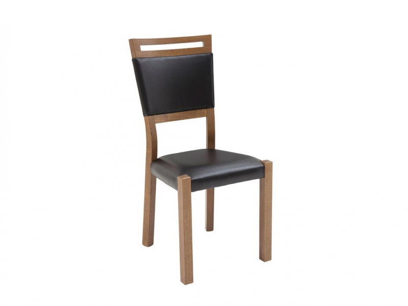 Dining Chair Solid Wood Oak finish Black Eco Leather Seat - Gent (GENT-TK1082)