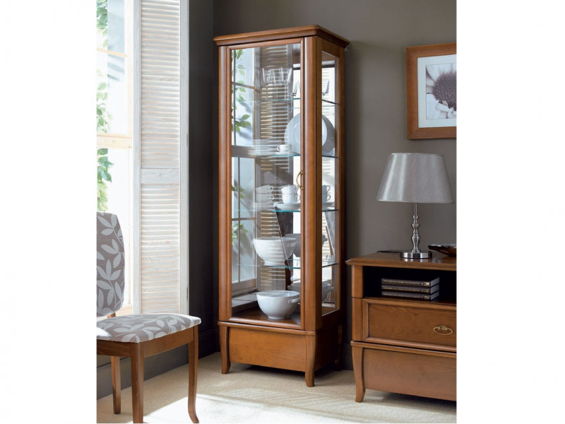 Vintage inspired Tall Glass Fronted Display Cabinet Cherry Wood Veneer - Orland (REG1W1S/60)