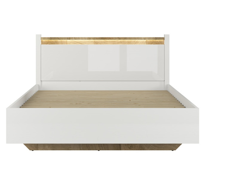 Modern White Gloss Ottoman Double Bed Frame with Gas Lift Up Storage Compartment -Alameda (S420-LOZ/160/B-BIP/DWM-KPL01)