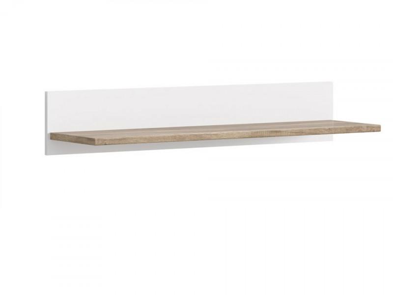 Short Floating Wall Mounted Shelf Panel 110 cm White / Oak Finish - Cannet (S351-POL/110-DAMO/BI)