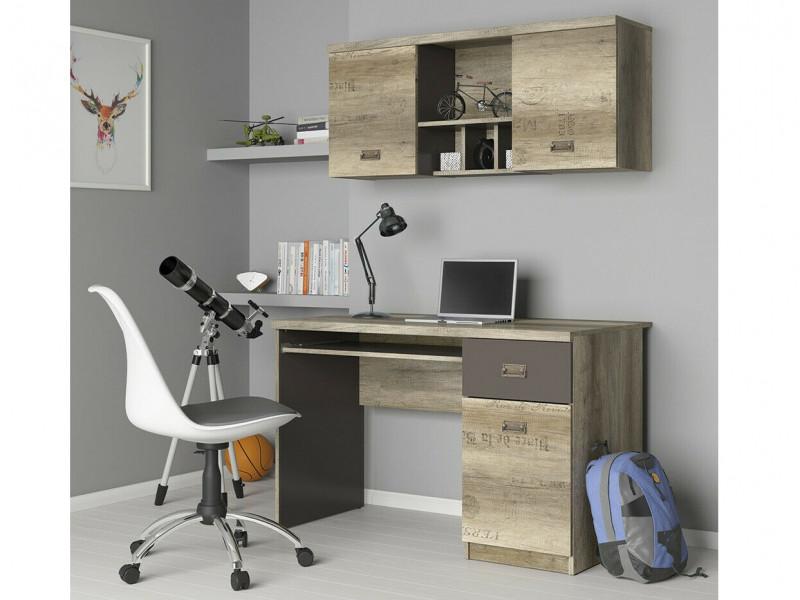 Urban 120cm Office Furniture Set Wall Display Unit and Desk with Storage Oak/Grey - Malcolm (S325-BIU1D1S+S325-SFW2D-DAMO)