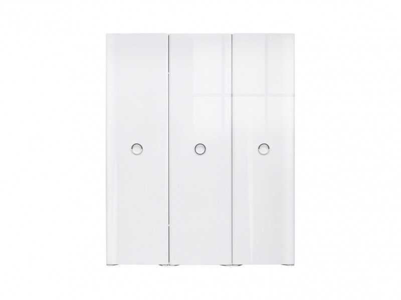 Modern Triple Bedroom Three Door Wardrobe Storage Unit Soft Closing White/White Gloss - Roksana (L20-SZF3D/22/18-BIPL/BI-KPL01)